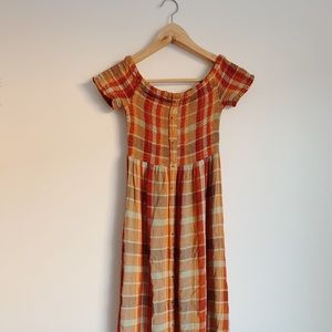 Urban Outfitters Smocked Plaid Maxi Dress